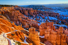 Sunrise Hoodoos (Michael S Liu) Tags: brycecanyonnationalpark utah sunrise nationalpark brycecanyon westcoast roadtrip hoodoos spring landscape snow