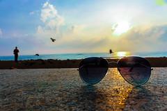 Sun Rise (san_shukla) Tags: sea glasses nature sunlight morning pondicherry sand india goldenview