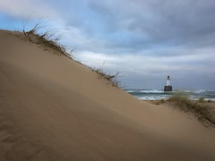 That lonely lighthouse. (srward77) Tags: shotoniphone sanddune beach storm remote scotland lighthouse