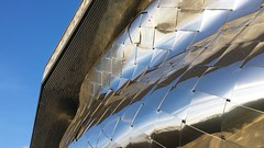Reflexions (Nemossos) Tags: miror miroirs batiment building architecture facade minimal minimalism blue grey sky modern philharmony paris la villette reflet reflexion tordu distorsion
