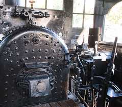 "Cab of ""Peggy,"" a Lima Shay Geared Steam Locomotive (SN 2172) (scattered1) Tags: 1909 2015 2172 center classb ehraim ephraimshay fire limalocomotiveworks limashay or oregon portland shay shopnumber2172 truck washington washingtonpark world worldforestrycenter antique balloon box cab classic engine firebox forestry geared gearedsteamlocomotive historic history lever locomotive oil old park powerful rail reversing reversinglever rugged steam timber train trees wood"