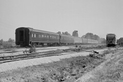 rn3-402crs (George Hamlin) Tags: indiana jeffersonville railroad passenger train penn central south wind coaches sleeper sleeping cars coverd hopper field countryside streamliner photo decor chicago florida george hamlin photography