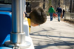 Watching from the Tram (CarusoPhoto) Tags: john caruso carusophoto brookfield zoo tram child boy people watching funny