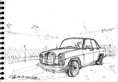 """Dans la """"réserve"""", la Mercedes (Croctoo) Tags: croctoo croctoofr croquis crayon mercedes auto poitou melle poitoucharentes garage"""