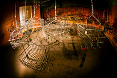locker room storage baskets (Sam Scholes) Tags: kingcoal utah coal industrial industrialdecay urbanexploration coalmine fisheye mining lockerroom basket orange baksets urbex ruraldecay abandoned mine urbandecay hiawatha