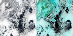 Japan in Natural and Infrared Light (sjrankin) Tags: 21january2017 edited nasa suominpp 45° 45°n clouds montage japan pacificocean eastasia korea koreanpeninsula russia china southkorea northkorea hokkaido snow ir infrared 3563mb huge
