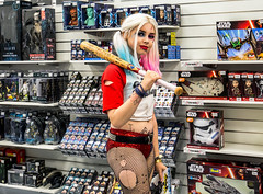 Can i help you ? (zilverbat.) Tags: engeland streetphotography people portrait portret peopleinthecity photography zilverbat streetshot image comics girl england young film movie urbanlife starwars sf action shop store figures movies heroes urbansquad blonde blond sport play suicidesquad honkbalknuppel slagbal