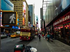The Streets (severalsnakes) Tags: street city newyorkcity travel vacation people newyork bus trash sony pedestrian crosswalk wx350 saraspaedy