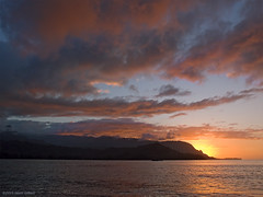 Hanalei Magic (OH_Snapper) Tags: ocean sunset sea orange sun seascape beach colors clouds landscape hawaii golden evening warm quiet pacific peach olympus calm northshore kauai hi rays fading hanalei lastlight balihai makana hanaleibay xz xz1