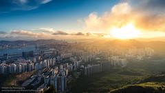 Lion on Fire (William C. Y. Chu) Tags: sunset urban landscape hongkong cityscape outdoor dusk hiking kowloon victoriahabour lionrock victoriaharbour  kowloonpeninsula feingoshan