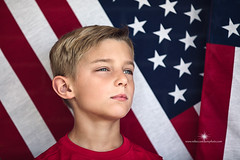 (Rebecca812) Tags: boy portrait usa horizontal child stripes blueeyes american americana cleancut 8yearsold allamerican headandshoulders blondhair partialprofile americanflagstars
