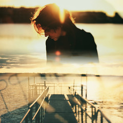 Nostalgic about the future (Peterix) Tags: conceptual dreamy selfportrait diptych jetty emotive sunlight doubleexposure