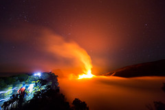 Approaching the eruption (JulGlouton) Tags: volcan volcano volcanic volcanoes shieldvolcano magma lava fire eruption éruption pitondelafournaise réunion reunionisland clouds smoke night nightscape stars worldheritage