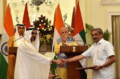 Prime Minister Narendra Modi and the Crown Prince of Abu Dhabi General Sheikh Mohammed Bin Zayed Al Nahyan witnessing the exchange of agreements (legend_news) Tags: prime minister narendra modi crown prince abu dhabi general sheikh mohammed bin zayed al nahyan witnessing exchange agreements
