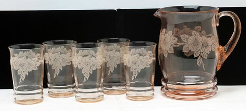 "1930's Depression glass including MacBeth-Evans PINK DOGWOOD PITCHER & 5"" TUMBLERS ($168.00)"