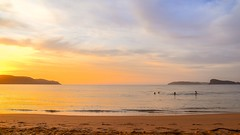Seascape Sunrise (Merrillie) Tags: uminabeach sunrise nature dawn mountains nswcentralcoast newsouthwales clouds swimmers nsw people beach australia centralcoastnsw umina outdoors photography seascape oceanbeach waterscape landscape sky water sea