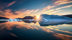 Greenland Sunrise (explored) (hpd-fotografy) Tags: arctic greenland scandinavia scoresbysund bluehour clouds cold cruise dramatic goldenhour ice iceberg landscape light north sailing sea seascape sunries sunset water weather