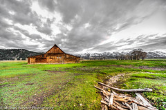 Moulton Barn in selective color (mbfirefly) Tags: mountains clouds wyoming hdr grandtetonnp moultonbarn 3fhdr