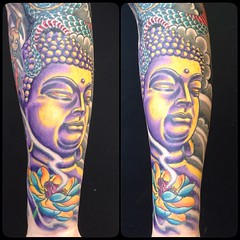 Fun Color on this Buddha, inspired by @artfink Hoffa #poochart #alteredstatetattoo @eikondevice #symbeos