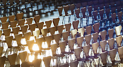 Rows and Rows... (Domiriel) Tags: sun reflection theater sitting glare chairs dusk places rows organized vianadocastelo tidy concerthall