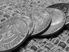177:365 (kellypaniwozik) Tags: blackandwhite bw silver blackwhite coins change day177 halfdollars day177365 365the2015edition 3652015 26jun15