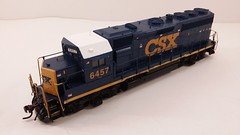CSX - MOTHER (Road Slug Power Unit) #6457 Dark Future Paint Scheme (Prototype Painted around April 2010) - GP40-2 (Conductors Front 3-4 Overhead) - HO Scale - Atlas - July 29, 2015 - K. Crawley (dcmkris) Tags: atlas csx hoscale gp402 custompainted darkfuture roadslug mothermate
