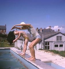 The school swimming pool, 1966 (Richard Litson) Tags: mountscar swanage joannelitson brucelitson swanagecountyprimaryschool johnlitson