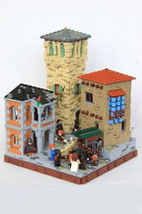 Dwarven Trade in Dale (soccersnyderi) Tags: lego moc creation model dale the hobbit building architecture roof interior street market cart wall tower cobblestone pavement medieval castle