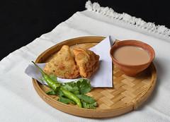 Samosa and Chai (Bhaskar Dutta) Tags: samosa chai kullard snack food indian chilli winter india