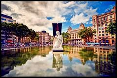 """""""Dea"""" revisited (ELtano86) Tags: barcellona barcelona catalunya catalonia eltano86 fountain city citta architettura architrcture reflection riflesso riflessi mirror specchio space brilliant"""