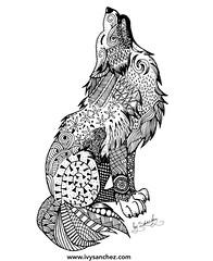 Arctic Wolf (ivysanchez14) Tags: handmade art artwork arte artoftheday artistonflickr zentangle wolf zendoodle mandala savetheplanet ink inkart blackink