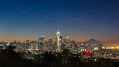 The Hours For The Old (John Westrock) Tags: seattle cityscape pacificnorthwest morning timestack stars airplanetrails dowtown city skyline spaceneedle canoneos5dmarkiii canonef2470mmf28lusm kerrypark