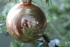 Reflecting on the Christmas season (MomOfJasAndTam) Tags: reflect reflecting christmas tree ornament xmas decorations ball hanging bookcase books selfie