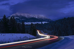 Blue Hour (Margarita Genkova) Tags: mountai kimberly tres snow dark blue hour light trails landscape night sky fog