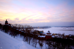 Place of Power (gráce) Tags: sky clouds sunset horizon river city cityscape cityview kremlin architecture buildings winter snow trees slope volga oka canon canoneos550d sigmalens wideangle wintersunset