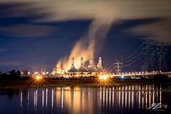 Fire, To Destroy All You've Done (Tim van Zundert) Tags: flintshire north wales connahs quay power station river dee reflection smoke plume electricity pylons night evening long exposure sony a7r zeiss 55mm sel55f18z deeside