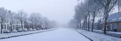 A cold day (Wouter de Bruijn) Tags: fujifilm xt1 fujinonxf35mmf14r panorama pano panoramic urban landscape winter snow ice cold canal water fog mist haze middelburg walcheren zeeland nederland netherlands dutch holland