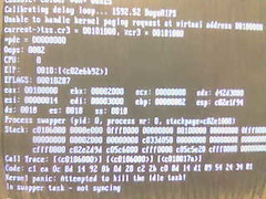 Panic! (boot attempt #2) (dsandler) Tags: dusty broken crash panic linux oops kernel swapper