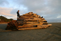 Fort (Jeff_Werner) Tags: friends sunset man art beach andy sand fort logs vancouverisland driftwood tofino goldsworthy andreasbrndhaugen
