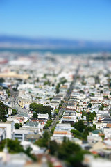 San Francisco, looking down 16th (mathowie) Tags: sanfrancisco photoshop tiltshift fakery