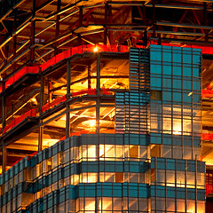 Illuminated Highrise Construction (JB Photo) Tags: urban usa building architecture skyscraper construction unitedstates nj structure highrise infrastructure newark architecturaldetails