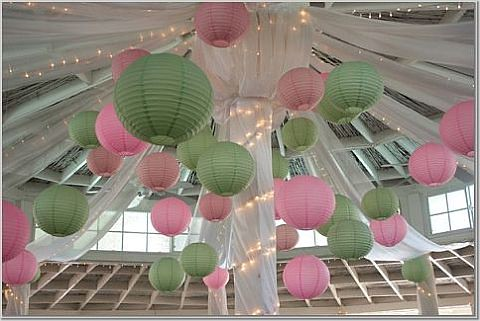 pink green lanterns, originally uploaded by Wedding or Party Decorations.