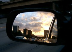 road sunset color digital mirror photo driving image samsung freeway rearview friday 134 3106 rappensuncle drivingphotos