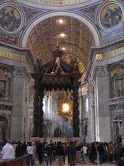sunlight, streaming (ata08) Tags: italy vatican stpeters rome roma church italia interior basilica altar bernini stpetersbasilica apse baldachin