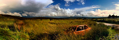 The Full Jim Skea (SteveFE) Tags: ireland panorama abandoned rust fuji vibrant curves bestviewedlarge jim bmw mister tribute wreck moor bog s5500 homage dumped countyclare skea imnotworthyetc