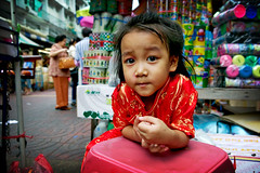 red girl in a bangkok market (phitar) Tags: colors girl thailand topf50 2006 phitar wpshow