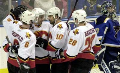 Flames Celebrate another Goal in St. Louis