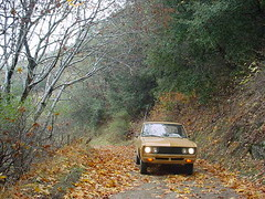 datsun on the fire roads (kneesamo) Tags: road classic fire pickup 1973 datsun butterscotch pl 620 l20b bulletside pl620