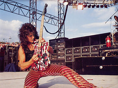 Eddie Van Halen 1979 (Taylor Player) Tags: lighting people festival rock electric clouds outdoors nice concert colorful bass guitar outdoor stripes stage crowd performance tan gear rack solo rockroll 1978 eddie van halen 78 audio fireextinguisher amps strippers tanned roadie sleeveless charvel