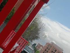 looking behind the red chair (pbo31) Tags: sanfrancisco california above street city bridge light red sky urban up northerncalifornia bay photo chair hill broadway sidewalk northbeach baybridge